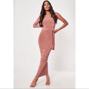 Blush one shoulder slinky body con midi dress